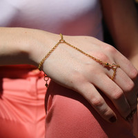 Simple Gold Hand Chain.  Bracelet and Ring Chain. Bohemian Hand Chain. Summer Jewelry.