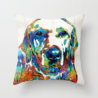 Labrador Retriever Art - Play With Me - By Sharon Cummings Throw Pillow by Sharon Cummings