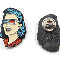 """Limited Edition """"3-D Pin-up Girl"""" Enamel Lapel Pin"""