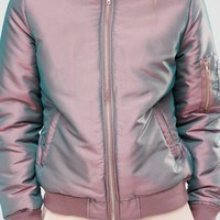 Missguided Iridescent Bomber Jacket at asos.com