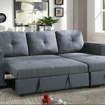2 pc daryl II collection blue grey linen like fabric upholstered sectional sofa set with pull out sleep area