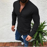 Fashion Casual Stand Collar Long Sleeve Shirt Top Tee