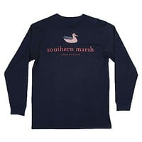 Long Sleeve Authentic Flag Tee in Navy by Southern Marsh