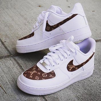 Inseva LV Louis Vuitton x Nike Air Force 1 men and women 2018 latest fashion running sports shoes F