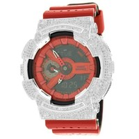 Mens GA1110LPA-4A GShock Watch Red Resin Band Simulated Diamonds