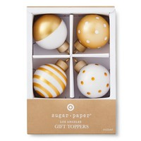 Sugar Paper Gold and White Patterned Ornament Gift Topper Set