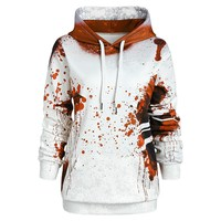 Wipalo Plus Size Letter Print Halloween Inspired Splatter Hoodie Women Hoodies Sweatshirts Casual Autumn Ladies Tops Pullovers