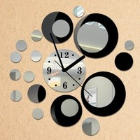 Toprate(TM) Black and Silver Rounds Wall Clock Mirror Wall Clock Modern Design Removable DIY Acrylic 3D Mirror Wall Decal Wall Sticker Decoration:Amazon:Home & Kitchen