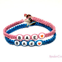 Bracelets for Couples, BAE, Light Pink and Bright Blue Macrame Hemp Jewelry, Made to Order