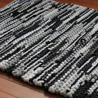 Rag Rug Black Gray Upcycled T Shirts White Creamy Ivory Charcoal Grey Retro Modern Classic Kitchen Rectangle 25x36 --US Shipping Included