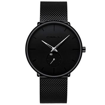 Mens Watches Ultra-Thin Minimalist Waterproof - Fashion Wrist Watch for Men Unisex Dress with Stainless Steel Mesh Band Silver