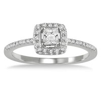 1/2 carat Princess Halo Engagement Ring in 10K White Gold