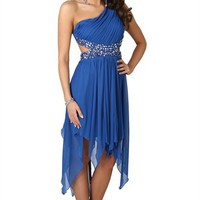 One Shoulder Dress with Pleated Cutout Bodice and Chunky Trim