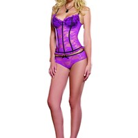 Stretch Lace Bustier With Panty (Small,Orchid/Black)