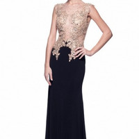 Kari Chang KC8 Black Jersey Sheer 2015 Prom Dress