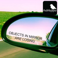 Objects in mirror are losing car sticker