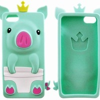 Cute 3D Silicone Protective Pig Case Cover Skin for iPhone 5 Gem Green