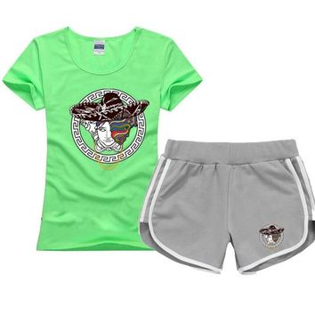 Trendsetter Versace Women Men Casual Sport T-Shirt Top Tee Shorts Set Two-Piece