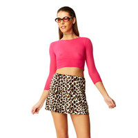 Faux Real Beige Leopard Fur High Waisted Mini Skirt