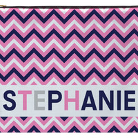 Personalized Zippered Pouch, Accessory Bag - Chevron Pink and Blue