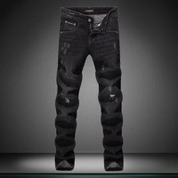 Rinsed Denim Ripped Holes Low Waist Slim Jeans [164468162589]