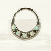 Septum Ring Nose Ring Septum Jewelry Body Light Blue Opal Stone Piercing  Sterling Silver Indian Style 14g 16g - SE027R SS OP26