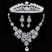Wedding Bridal Sets Clear Rhinestone Crystal Necklace Earring Crown Jewelry A02