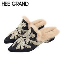 HEE GRAND Embroider Flower with Fur inside Autumn Slippers Sexy Girls' Shoes for Party Medal Heels Women's Shoes XWT1101