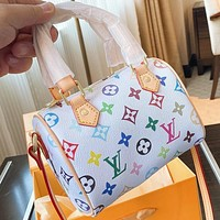 Onewel LV Fashion New Multicolor Monogram Print Leather Pillow Shape Shoulder Bag Handbag Crossbody Bag White