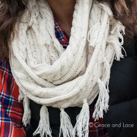 """""""Alpine Scarf"""" - Ivory - Grace and Lace"""
