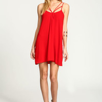 RED STRAPPY CAGE CHIFFON DRESS
