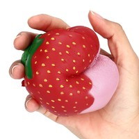 Strawberry Squishy Slow Rising 9cm*10cm Squeeze Jumbo Stress Stretch Strawberry Cream Scented Slow Rising Toys