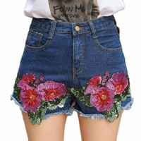 Womens Mid-Waist Denim Shorts