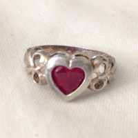 Vintage Sterling Silver & Lab Pink Sapphire SZ 7 heart stoned ring heart cut sapphire