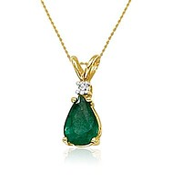 "14K Yellow Gold Pear Shape Emerald and Diamond Pendant (3/4ct tgw 18"" chain)"