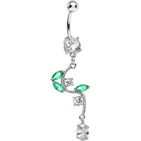Crystalline Gem Budding Flower Vine Dangle Belly Ring | Body Candy Body Jewelry