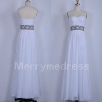 Beads White Sweetheart Strapless Long Bridesmaid Celebrity Dress, Floor length Chiffon Formal Evening Party Prom Dress Homecoming Dress
