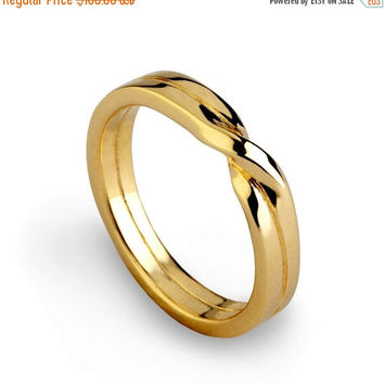 SALE 20% Off - LOVE KNOT Ring, Gold Wedding Band, Unique Mens Wedding Band, Womens Wedding Band, His and Hers Wedding Ring Gold