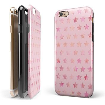 The Baby Pink Watercolor Stars iPhone 6/6s or 6/6s Plus 2-Piece Hybrid INK-Fuzed Case