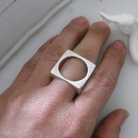 Cube  - Silver pl Ring - Size 7 - 8 ( each round has different size)