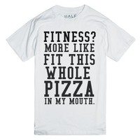 Fitness Whole Pizza In My Mouth-Unisex White T-Shirt