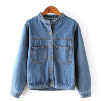 Blue Denim Pocket Detail Button Down Jacket