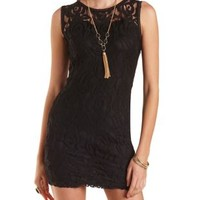 Sleeveless Bodycon Lace Dress by Charlotte Russe - Black