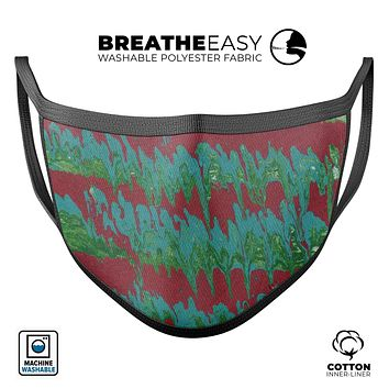 Abstract Wet Paint Mint Green to Red - Made in USA Mouth Cover Unisex Anti-Dust Cotton Blend Reusable & Washable Face Mask with Adjustable Sizing for Adult or Child