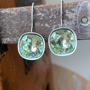 Handmade Antiqued Silver Earrings with Chrysolite Green Swarovski Crystal