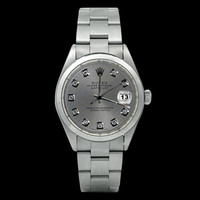 Gray diamond dial date just watch Rolex oyster SS datejust