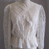 Vintage 80s Sheer Lace EDWARDIAN Style BLOUSE w. PEPLUM Detail Romantic High Collar Bust 42""