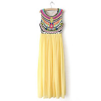 Yellow Bohemian Print Sleeveless Maxi Dress