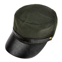 ZLYC Unisex Fashion Lint Casual Army Cap Classic Cap Running Cap with PU Leather Peak
