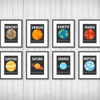 Planet Prints - Solar System, Boy or Girls Room Decor, Playroom, Outer Space, Planet Decor, 5x7 or 8x10 Prints